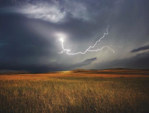 Gewitter - Blitz - Feld